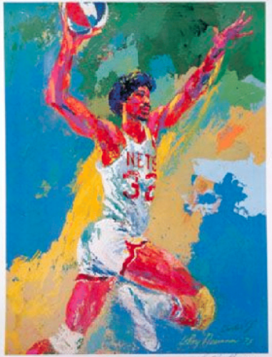 LeRoy Neiman, Dr. J, 1975. Marker on Printed Score Sheet. 8 1⁄2 X 11