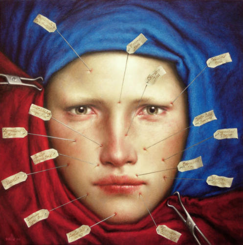 Lectio by Dino Valls, 2006. Oil on wood, 25x25 cm.