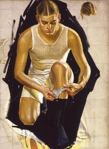 Man adjusting Socks study by J.C. Leyedecker, 1920.