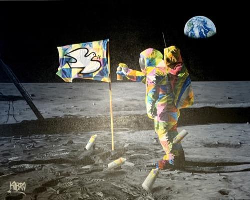 Man on the Moon, 2019. Spray paint & airbrush on canvas. 65 x 78