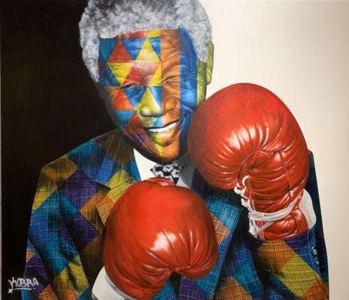 Mandela, 2019. Spray paint & airbrush on canvas. 77 x 89