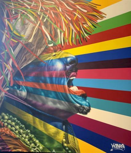 Maracatu, 2019 (from Rhythms of Brazil, Tokio, Japan) Spray paint & airbrush on canvas. 77 x 67