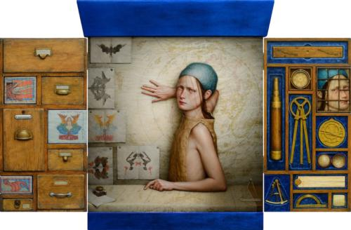 Mare Incognito by Dino Valls, 2015. Oil and silver leaf on wood. Tripttych, 85x130 cm.