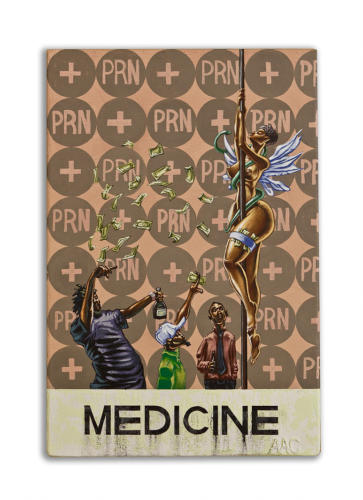 Medicine by Alfred Conteh, Mixed Media Painting. Wood, Acrylic. 24 x 16