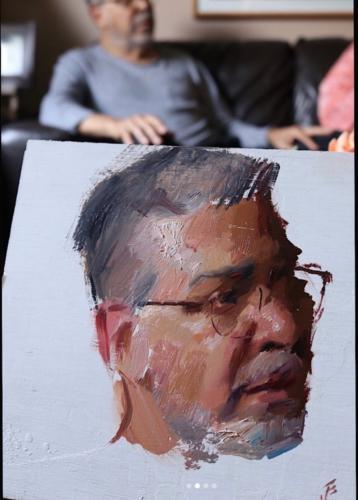 Mi Papá by Jesus Emmanuel Villarreal. Oil on wood, 8x10