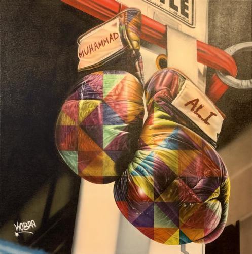 Muhammadali, 2019. Spray paint & airbrush on canvas. 75 x 74
