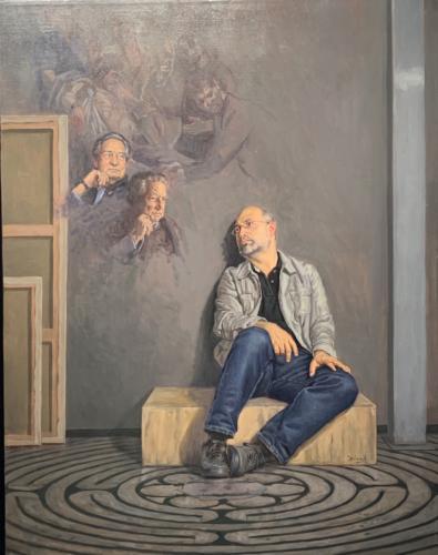 Octavio paz el Laberinto de mi Soledad. Oil on Canvas. 27 x 35.