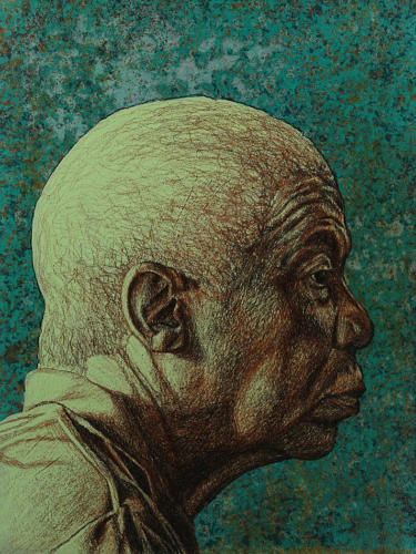 Ol' School by ALfred Conteh. Conté, Acrylic, Charcoal and Atomized Bronze Dust on Paper. 11.5 x 15