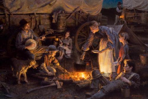 Oregon Trail Family by Morgan Weistling, oil on canvas.