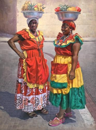 Palenquera #2 by Teresa Uribe. Oil on canvas. 48 x 36'.