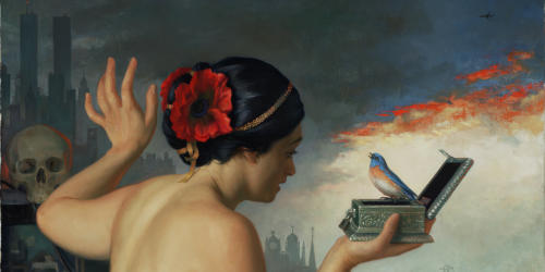 Pandora by Patricia Watwood, 2012, oil on canvas 28 X 32