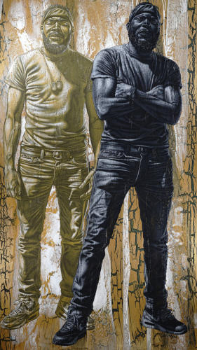 Pat and Lil' Pat. by Alfred Conteh, Two Front Serie. Acrylic and Atomized Brass Dust on Canvas. 84 x 47.5