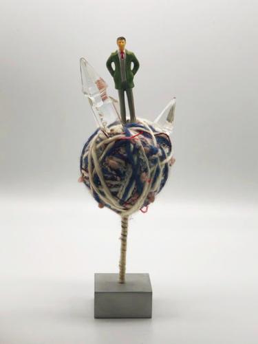 Piccolo Magnifico Mondo VIII, 2019. by Stefano Ogliari Badessi. Yarn, plastic figurines, silk, metal.