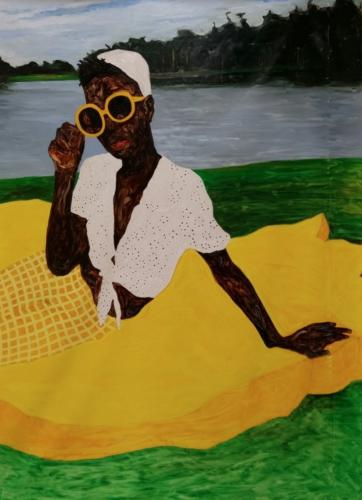 Picnic Girl by Amoako Boafo, 2018. Oil on canvas, 220x130 cm.