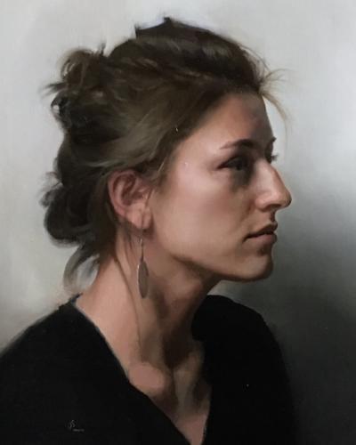Portrait of Hannah by Jesus Emmanuel Villarreal. Oil on linen, 14x18.