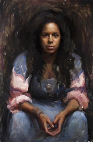 Portrait of a cuban singer by Jesus Emmanuel Villarreal. Oil on linen, 24x36.