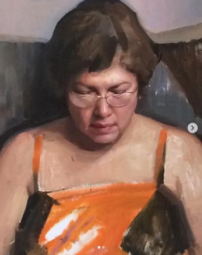Portrait of my Mother by Jesusu Emmanuel Villarreal. Oil on linen.