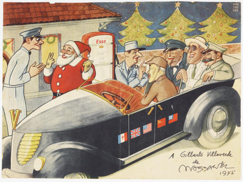 Print, Santa and Allied Leaders at gas station, 1945. Offset lithograph.The Wolfsonian–FIU, Promised Gift of Vicki Gold Levi.