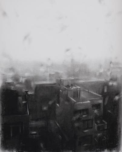 Rainy Window in NY by Jesus Emmanuel Villarreal. Charcoal o paper 19x24