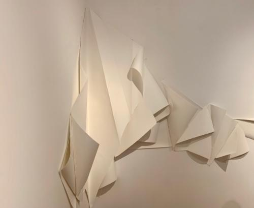 Rapture Unseen, 2019 by Rosemarie Chiarlone. Folded paper and perforated paforated paper.