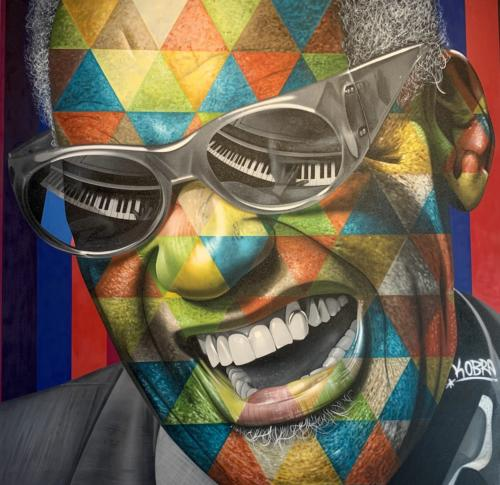Ray Charles, 2019 (from Sao PAulo, Brazil, 2015). Spray paint & airbrush on canvas. 78 x 77