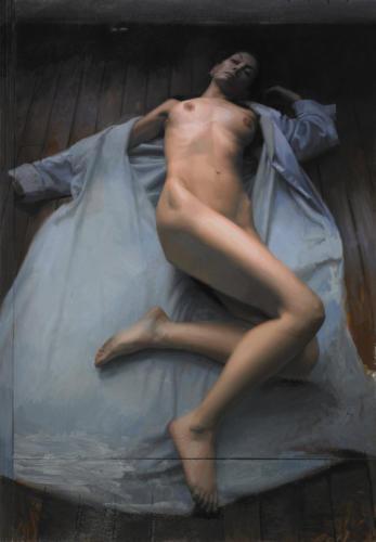 Reclining Nude by Jesus Emmanuel Villarreal. OIl on linen 42x59.5