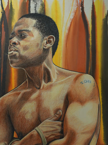 Sauce by Alfred Conteh. Charcoal, Conté and Acrylic on Paper. 22 x 30