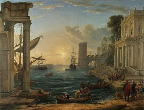 Seaport with the Embarkation of the Queen of Sheba by Claude Lorrain, 1648. Oilon canvas, 149.1x196.7 cm. National Gallery, London.