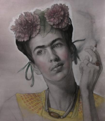 Self-Portrait Homage To Frida Kahlo. Pencil and Pastel. 16x12