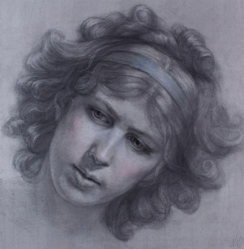 Self-Portrait Homage to Elisabeth Vigee Le Brun. Pencil and Pastel. 20x20
