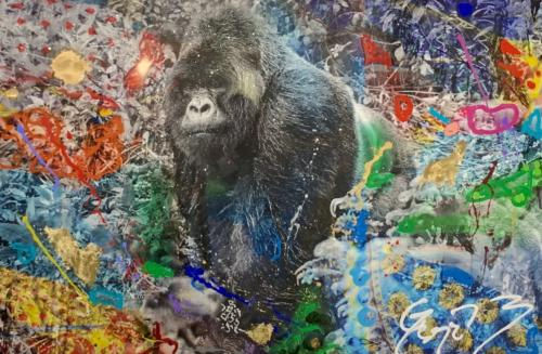 Silverback by Arno Elias. Hand painted Gold leaf and diamond dust. 54 x 38