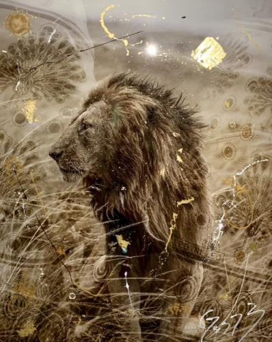 Simba Gold by Arno Elias. Hand painted Gold leaf and diamond dust. 61 x 76