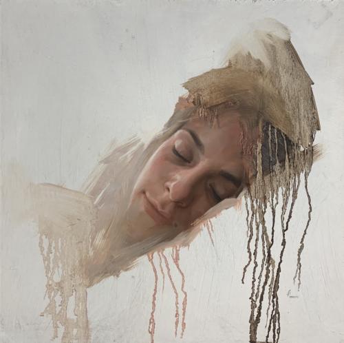 Sleep by Jesus Villareal. Oil on Wood. 16 x 16