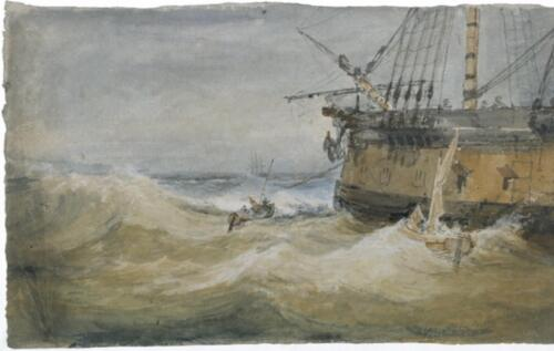 Small Boats beside a Man-o'-War by J.M.Turner, 1796-1797. Gouache and watercolor on paper, 13 7:8x 24 1:4. Tate 2019