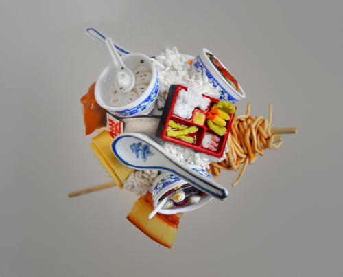Spherical Postcard-Food, 2014. Metal Sphere, Ceramic, Iron, Silicon, Wood, Found Object.