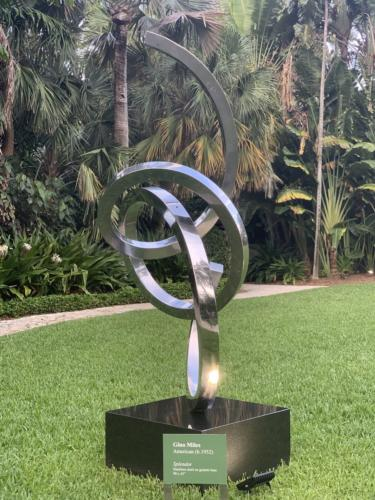 Splendor by Gino Miles. Stainless steel on granite base. 90x45 inches.