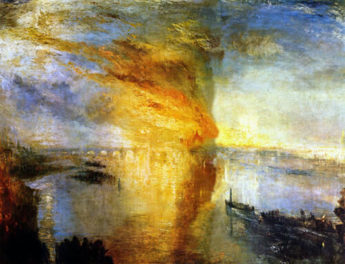 The Burning of the Houses of Parliament by J.W.M.Turner, 1835. Oil on canvas, 92.5x123 cm. Cleveland Museum of Art, Cleveland, U.S.A.