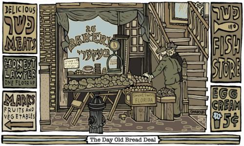 The Day Old Bread Deal by Steve Marcus, 2017. Pen and Ink Giclée, Print on Nyodo Kozo. 18x36.