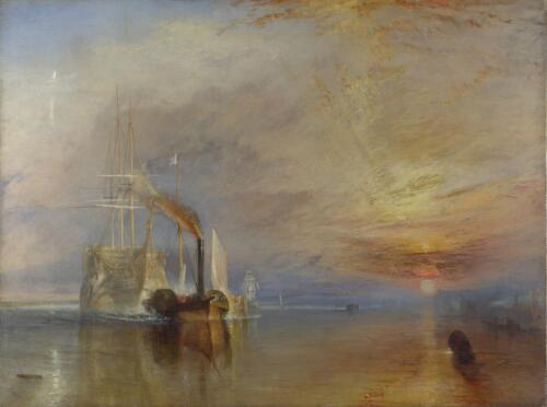 The Fighting Temeraire tugged to her last berth to be broken up, 1839 by J.M.W.Turner. The National Gallery, London.
