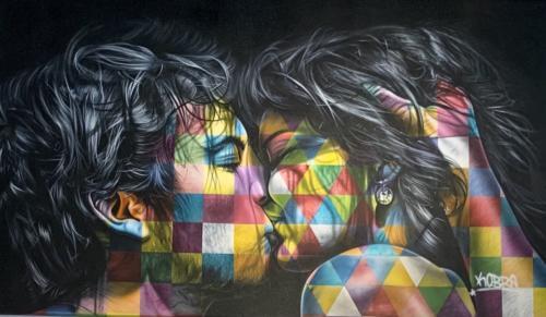The Kiss, 2019. Spray paint & airbrush on canvas. 61 x 100
