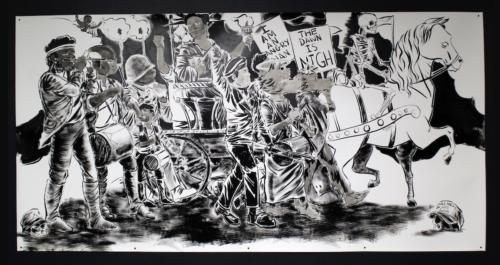 The One About Liberation by Mark Thomas Gibson, 2019. Ink on Paper. 59x121.5