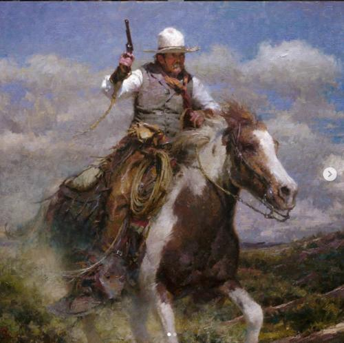 The Pursuit by Morgan Weistling, Oil on linen, 2005. 30x34.