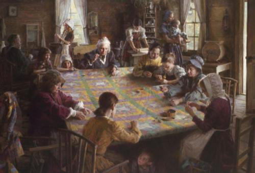 The Quilting Bee, 19th Century Americana, by Morgan Weistling. Masters of the American West show, Autry Museum, Glendale , Ca. Winner of the Artist's Choice Award and the Patron's Choice Award 2007