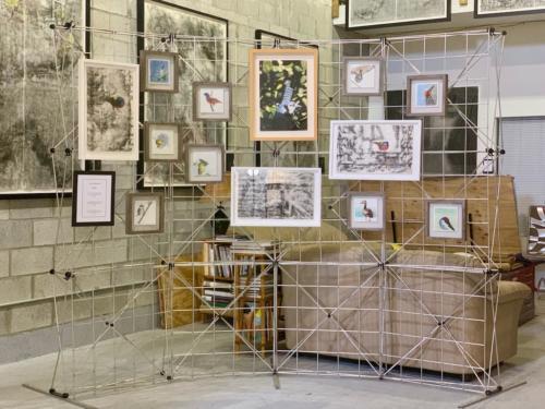 The beautiful aviary in her studio.