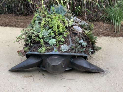 Tortue Topiaire by Francoise-Xavier Lalanne. Copper Steinless Still and Plants, 1992