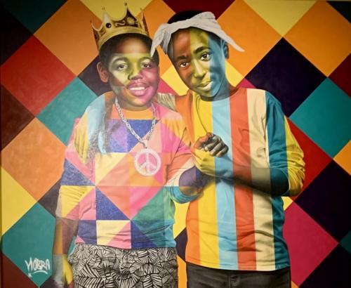 Tupac & Notorius Big, 2019. Spray paint & airbrush on canvas. 63 x 77