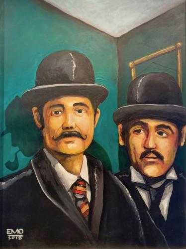 Watson and Lestrade by Eduardo Mendieta. Acrylic on canvas. 40x30 inches
