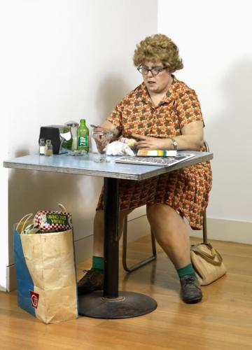 Woman Eating by Duane Hanson, 1971. Polyester resin and fiberglass with oiland acrylic paints and found accessories. Smithsonian America ARt Museum.