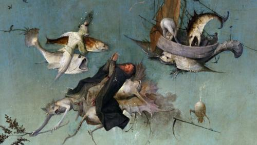 detail on the left side of the Triptych of The Temptation of St.Anthony by Hieronymus Bosch, 1502. Oil on panel 131x228 cm. Museo Nacional de Arte Antiga, Lisbona, Portugal